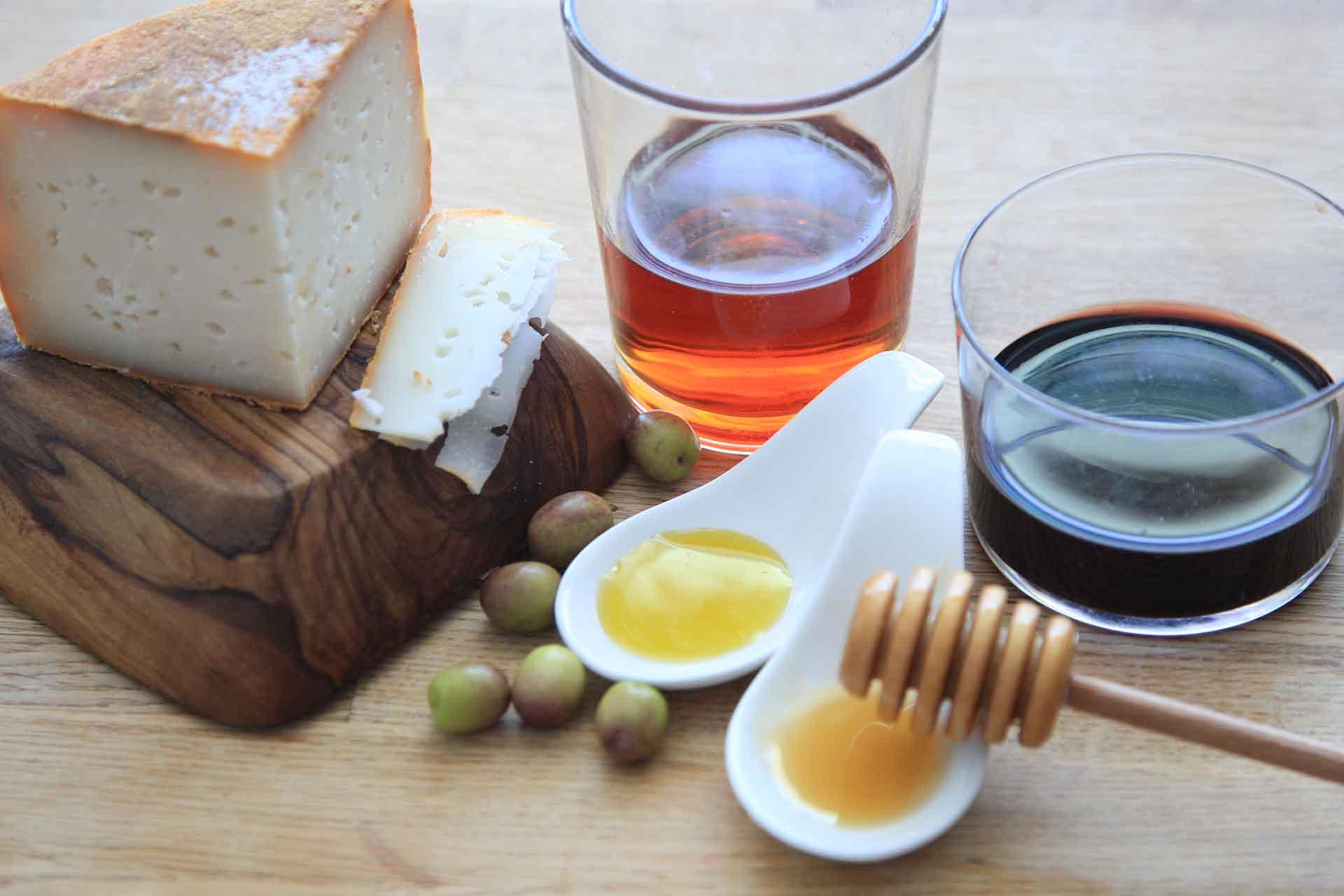 miel aceite queso